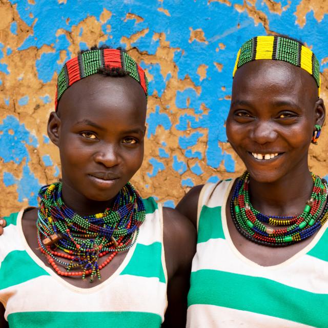 """Hamer tribe young girls, Dimeka, Omo valley, Ethiopia"" stock image"