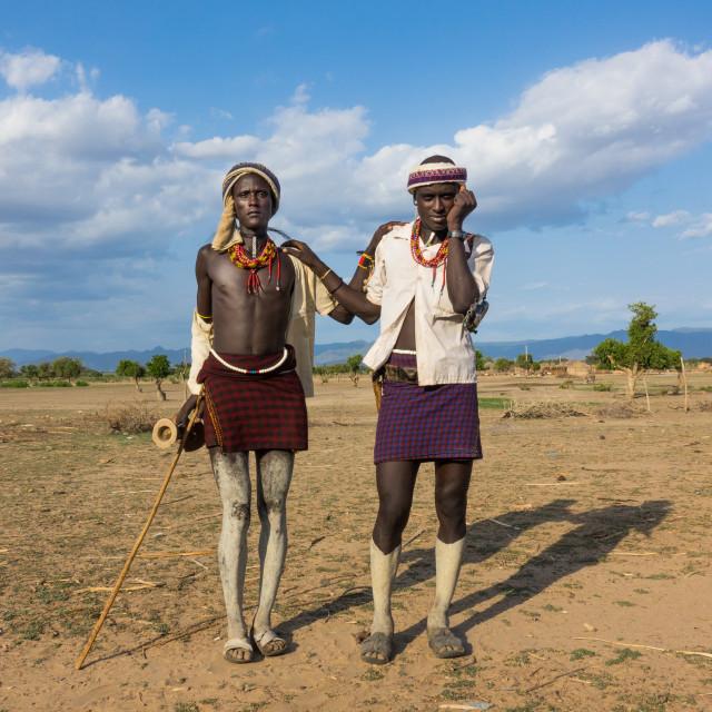 """Erbore tribe men in Murale village, Omo valley, Ethiopia"" stock image"