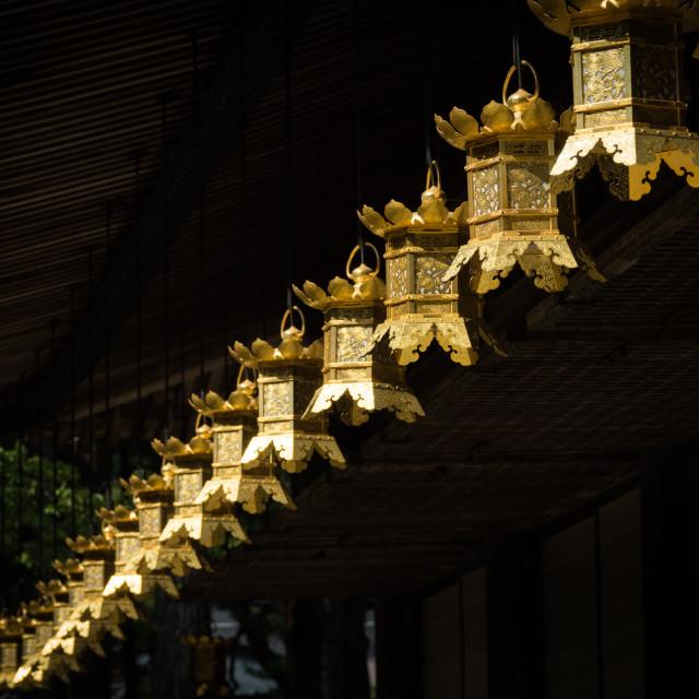 """Row of golden lanterns in Miedo Temple, Koya-san, Wakayama Prefecture, Japan"" stock image"