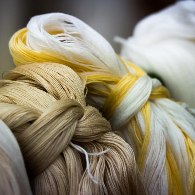 """Weaving from Taketomi Folk Art Museum, Taketomi Island, Yaeyama Islands,..."" stock image"