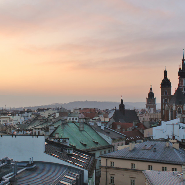 """""""Krakow: sunset panorama of the Old Town"""" stock image"""