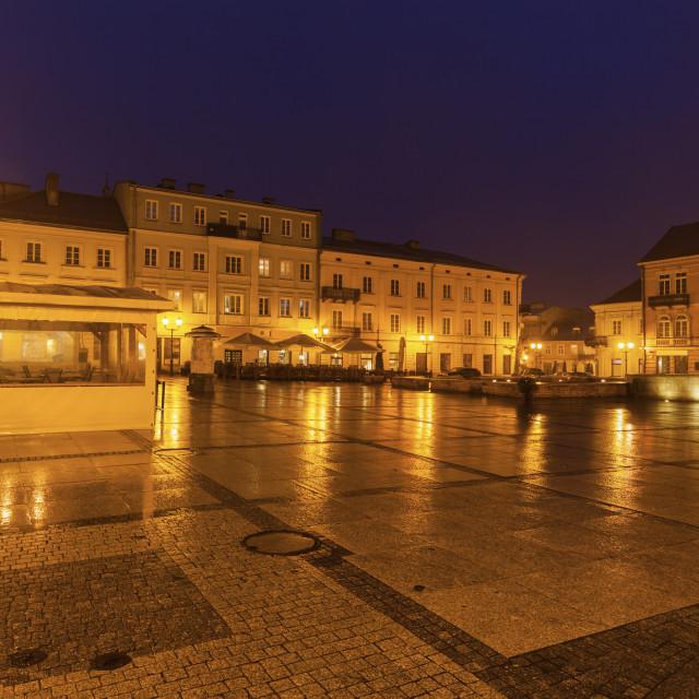 """Rain on Market Square in Piotrkow Trybunalski"" stock image"