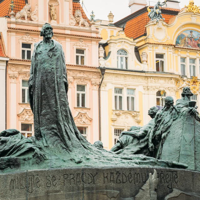 """Jan Hus Memorial on the Old Town Square in Prague, Czech Republic"" stock image"