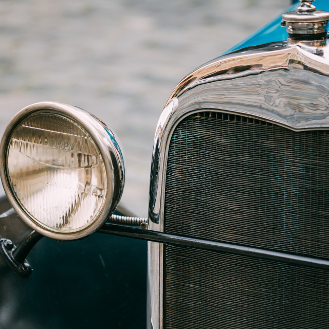 """Close up of old vintage blue car"" stock image"