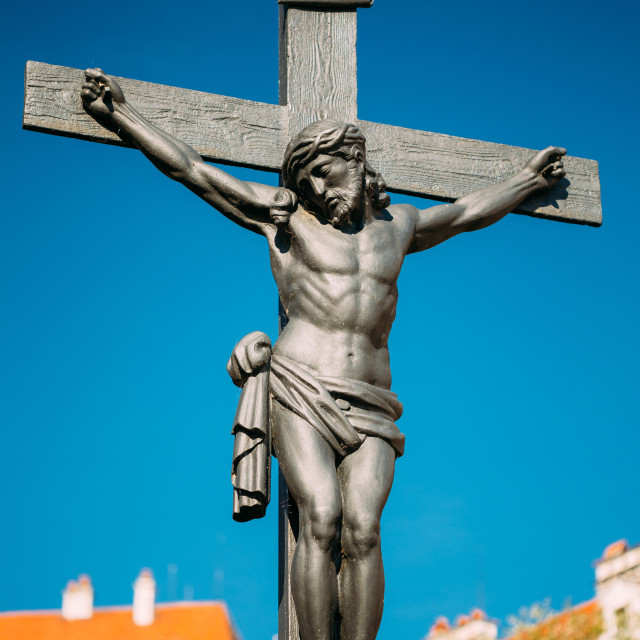 """""""Statue Of The Crucified Christ On The Cross In Cesky Krumlov, Czech Republic...."""" stock image"""