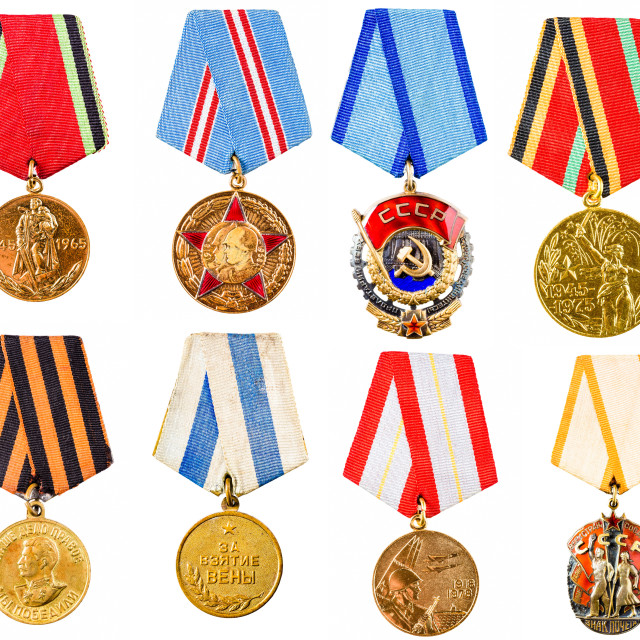 """""""Collection Set Сollage Of Russian Soviet Medals For Participation In Second..."""" stock image"""