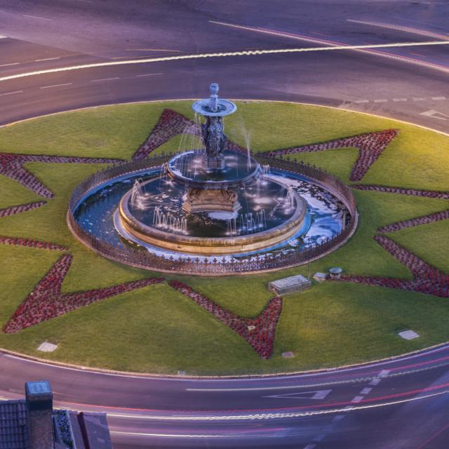 """The Three Graces Fountain in Malaga"" stock image"