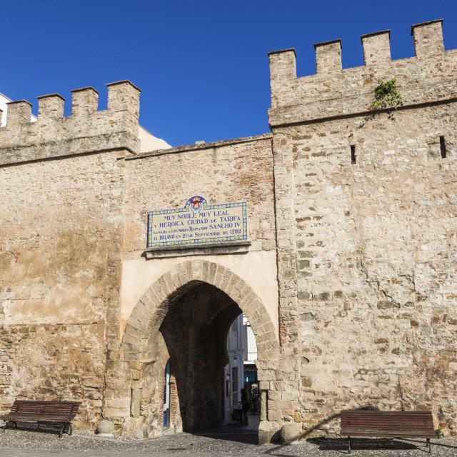 """""""Old gate in Tarifa"""" stock image"""
