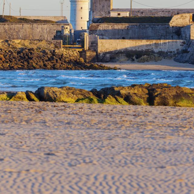 """Lighthouse on Palomas Island in Tarifa"" stock image"