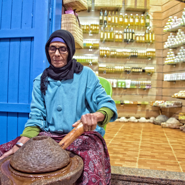 """Making argan oil; Essaouira, Morocco"" stock image"