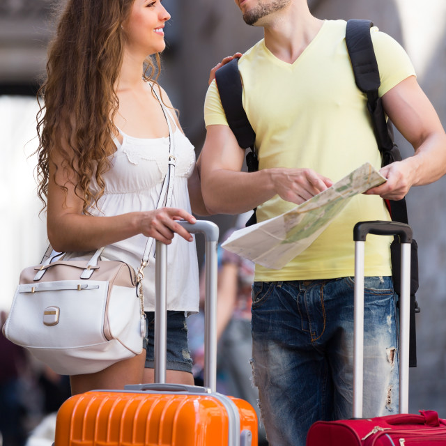 """""""Couple with luggage reading map"""" stock image"""