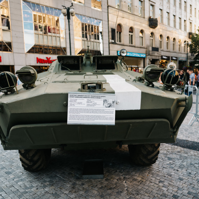 """Old Soviet tank in exhibition in Wenceslas Square in Prague"" stock image"