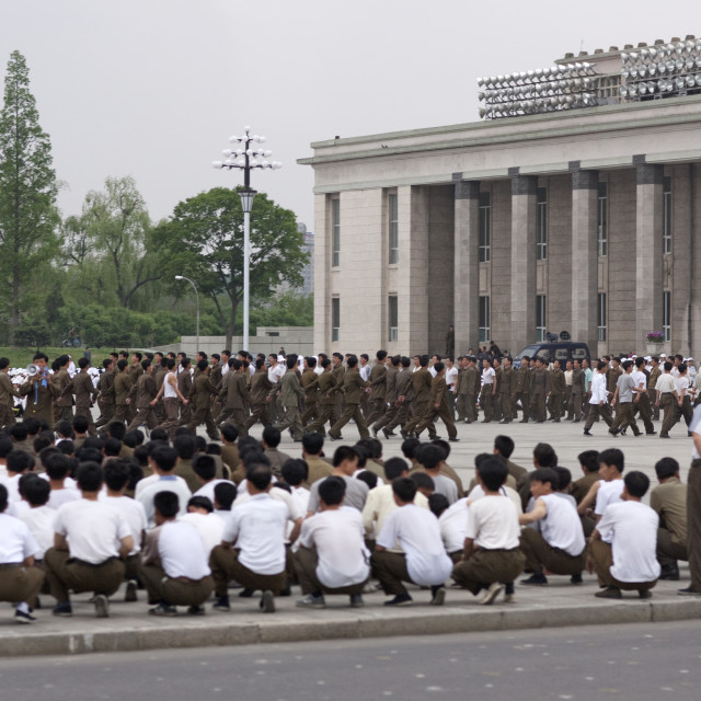 """""""North Korean soldiers training in Kim il Sung square, Pyongan Province,..."""" stock image"""