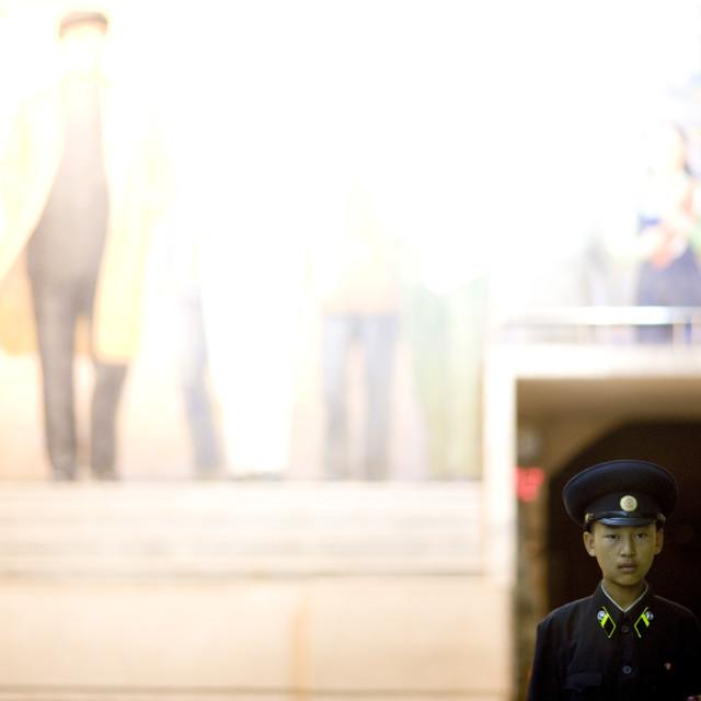 """Subway employee in puhung metro station, Pyongan Province, Pyongyang, North..."" stock image"