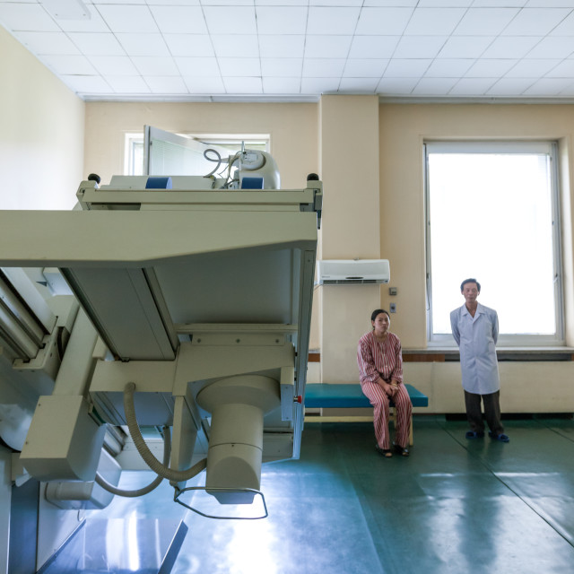 """X-ray unit in maternity hospital, Pyongan Province, Pyongyang, North Korea"" stock image"