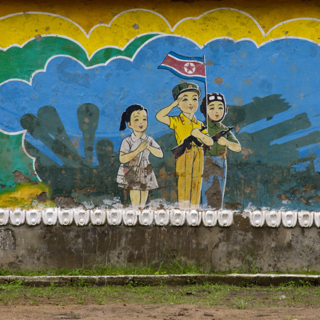 """""""Patriotic and military billboard in a school, North Hwanghae Province,..."""" stock image"""