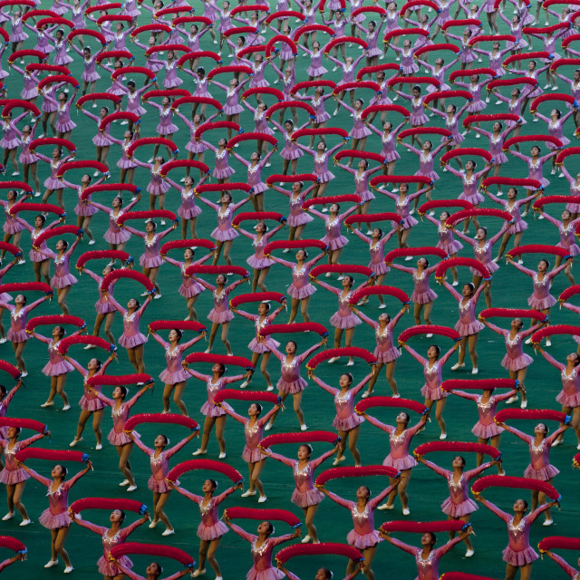 """North Korean gymnasts performing during Arirang mass games in may day..."" stock image"