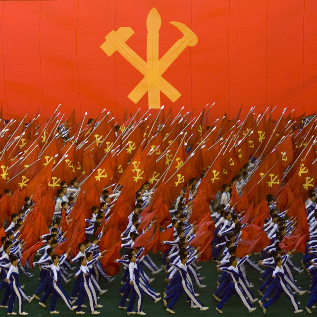 """Workers' Party of North Korea giant flag during the Arirang mass games in may..."" stock image"