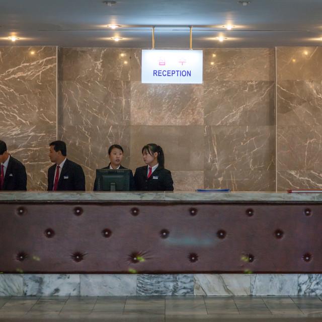"""Hotel reception at Yanggakdo international hotel, Pyongan Province,..."" stock image"