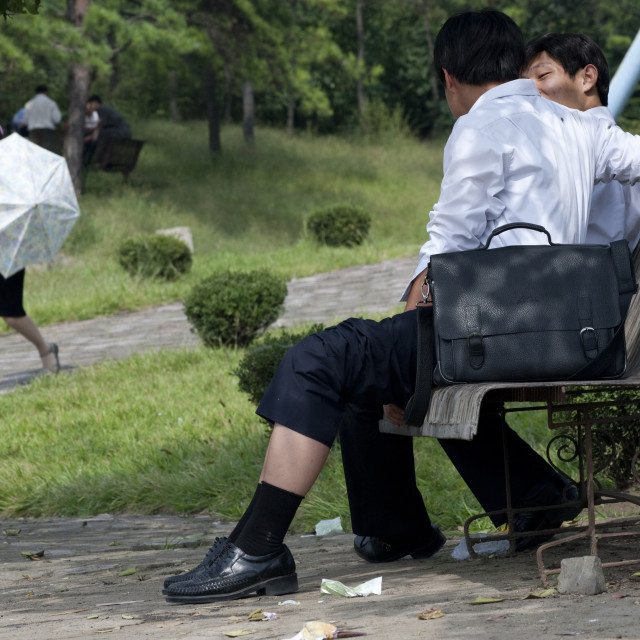 """North Korean men resting on a bench in a park, Pyongan Province, Pyongyang,..."" stock image"