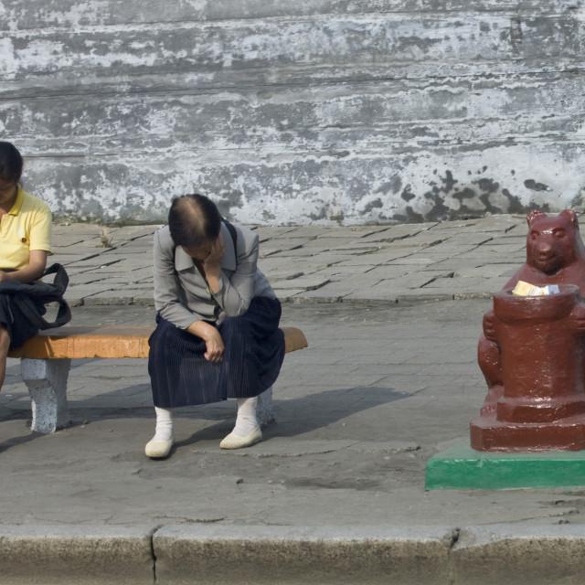 """North Korean women sit on a bench near a trash bin, Pyongan Province,..."" stock image"