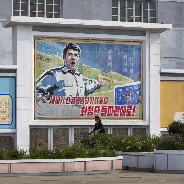 """Propaganda billboard about economy inside Hungnam nitrogen fertilizer plant,..."" stock image"