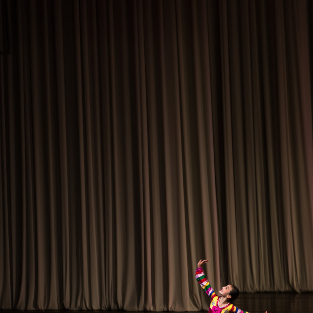 """Young North Korean acrobat during a show in Mangyongdae children's palace,..."" stock image"