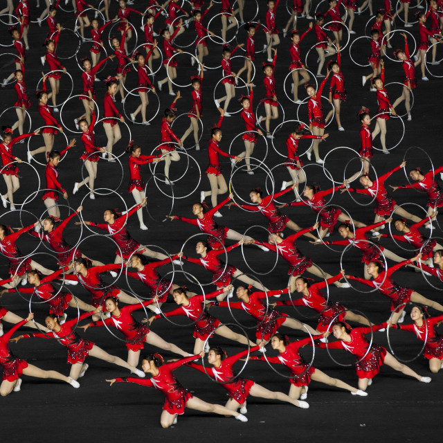 """North Korean gymnasts performing during the Arirang mass games in may day..."" stock image"
