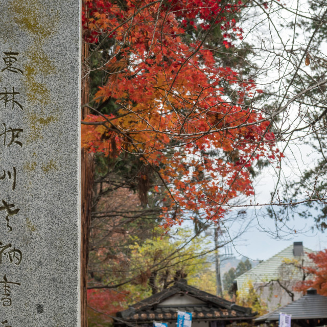 """Japanese text engraved into stone in rural Japan."" stock image"