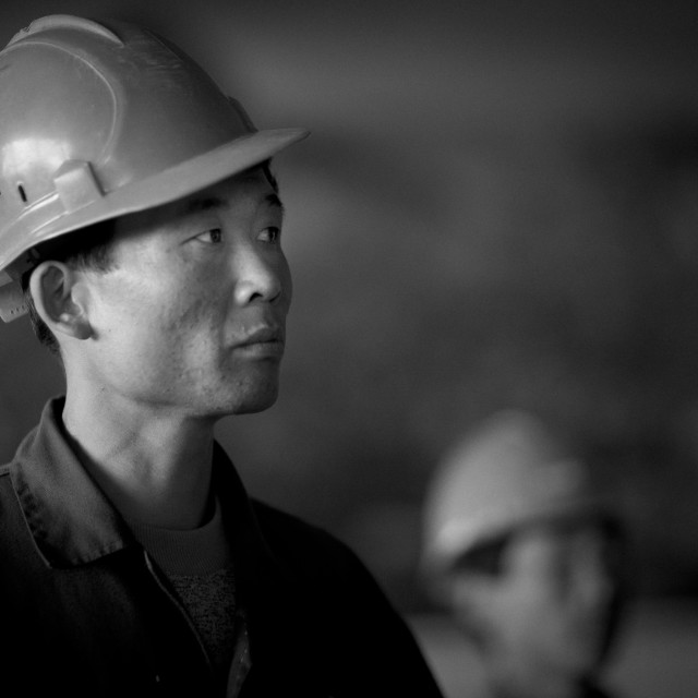 """""""North Korean workers in a steel factory, South Pyongan Province, Nampo, North..."""" stock image"""