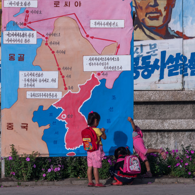 """Map of last Kim Jong il trips in train, North Hamgyong Province, Chilbo Sea,..."" stock image"