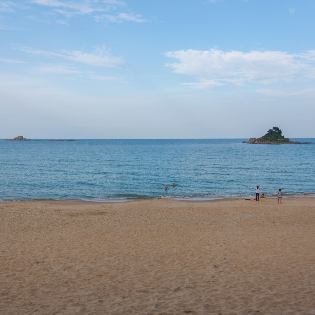 """""""North Korean people having a swim in the east sea, North Hamgyong Province,..."""" stock image"""