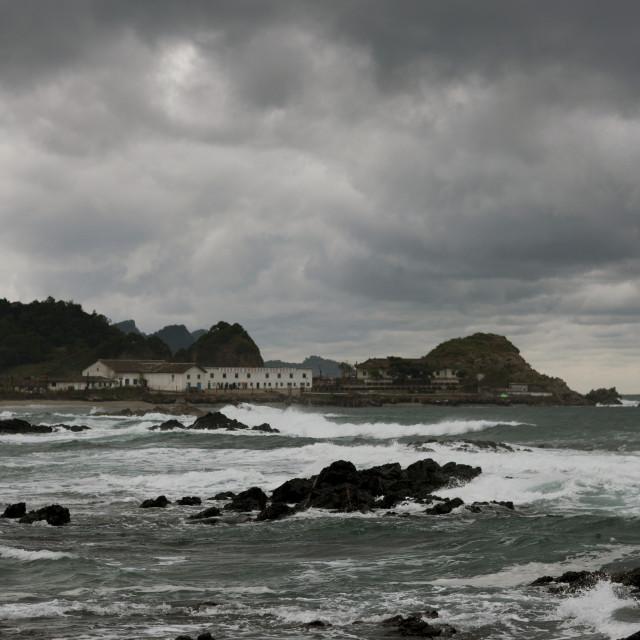 """Storm over seaside, North Hamgyong Province, Jung Pyong Ri, North Korea"" stock image"