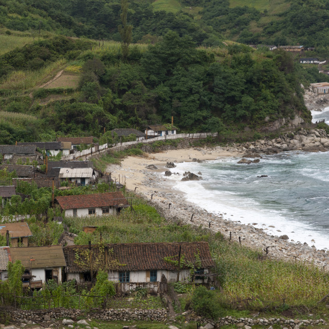 """""""Overview of village near the sea, North Hamgyong Province, Jung Pyong Ri,..."""" stock image"""