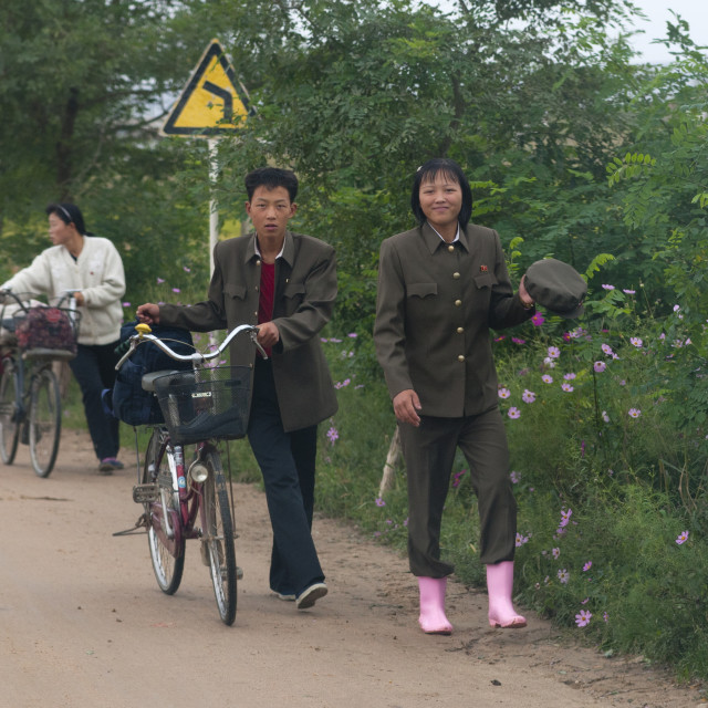 """""""North Korean couple walking alongside the road with a bicycle in the..."""" stock image"""