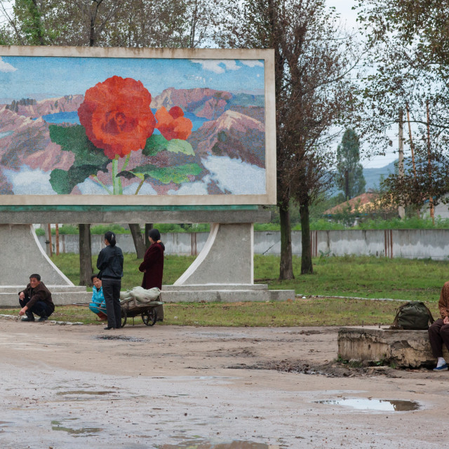 """North Korean propaganda billboard depicting a Kimilsungia flower on mount..."" stock image"