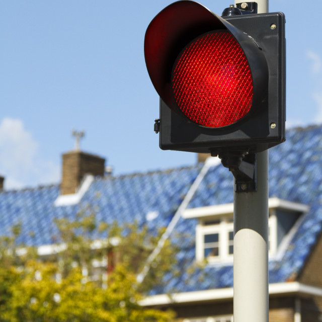 """""""Bright red stop light"""" stock image"""