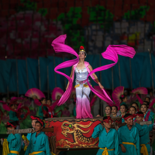 """""""North Korean women dancing with ribbons during the Arirang mass games in may..."""" stock image"""