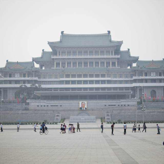 """""""Overview of Kim il-sung square, Pyongan Province, Pyongyang, North Korea"""" stock image"""