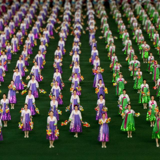 """North Korean gymnasts performing during Arirang mass games in may day..."" stock image"