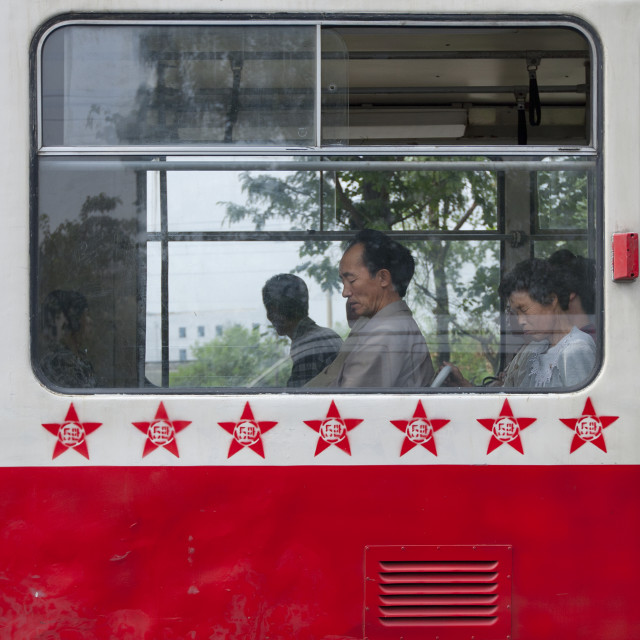 """""""Public bus decorated with red stars one star represents 50000 km of safe..."""" stock image"""