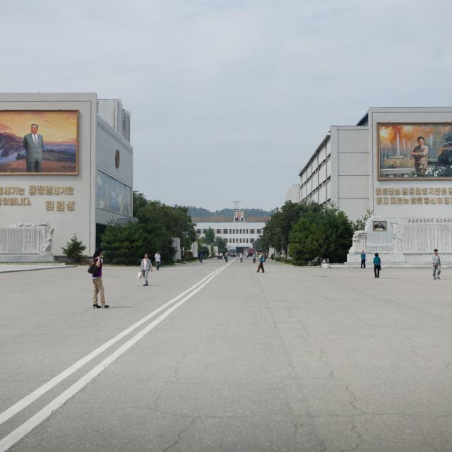 """Kim il Sung and Kim Jong il on a propaganda mosaic fresco at the entrance of..."" stock image"