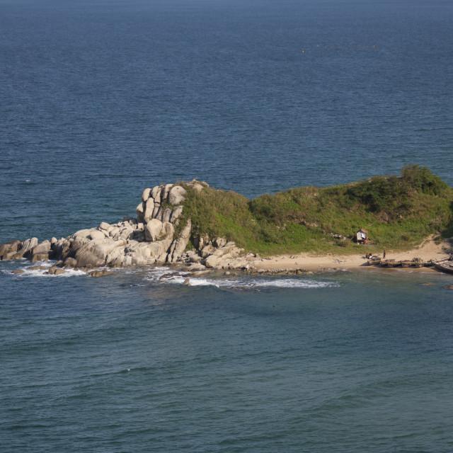 """Rocks on the coast, North Hamgyong Province, Chilbo Sea, North Korea"" stock image"
