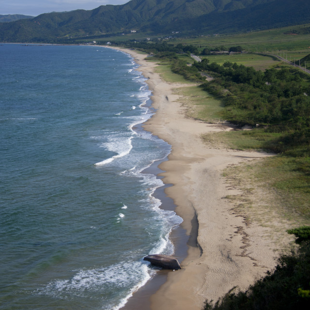 """""""Deserted stretch of sandy beach, North Hamgyong Province, Chilbo Sea, North..."""" stock image"""