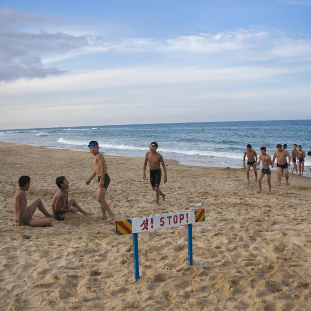 """Group of North Korean boys playing at the beach, North Hamgyong Province,..."" stock image"