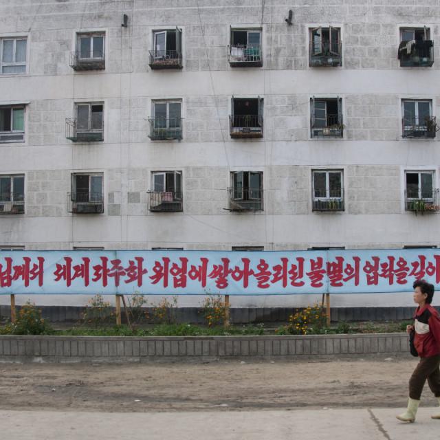 """North Korean woman walking in the street in front of a propaganda billboard,..."" stock image"