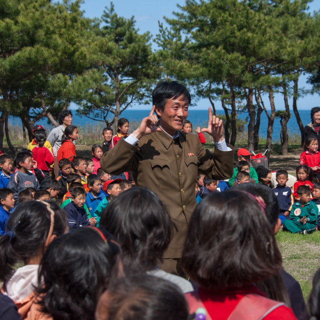 """North Korean children having fun during a summer camp, North Hamgyong..."" stock image"