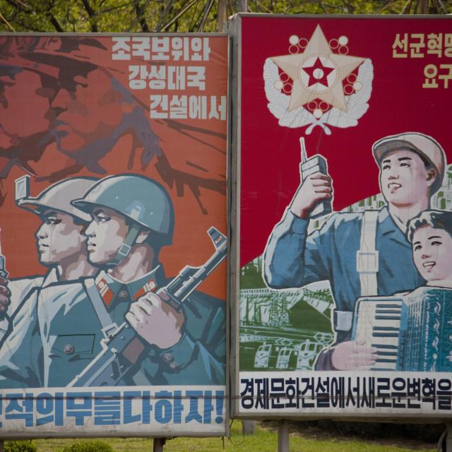 """North Korean propaganda billboard in the street, Pyongan Province, Pyongyang,..."" stock image"
