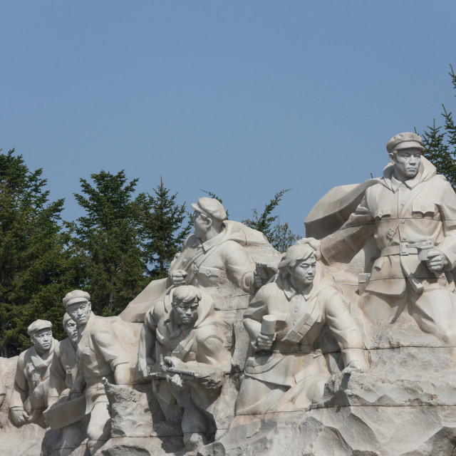 """""""Military statues in Taesongsan revolutionary martyr's cemetery, Pyongan..."""" stock image"""