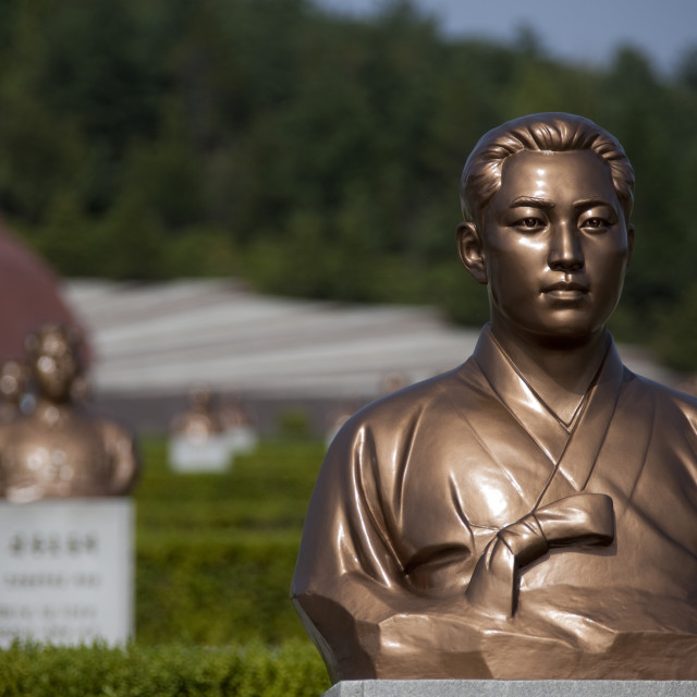 """""""Bronze statues of the patriots at Taesongsan revolutionary martyr's cemetery,..."""" stock image"""
